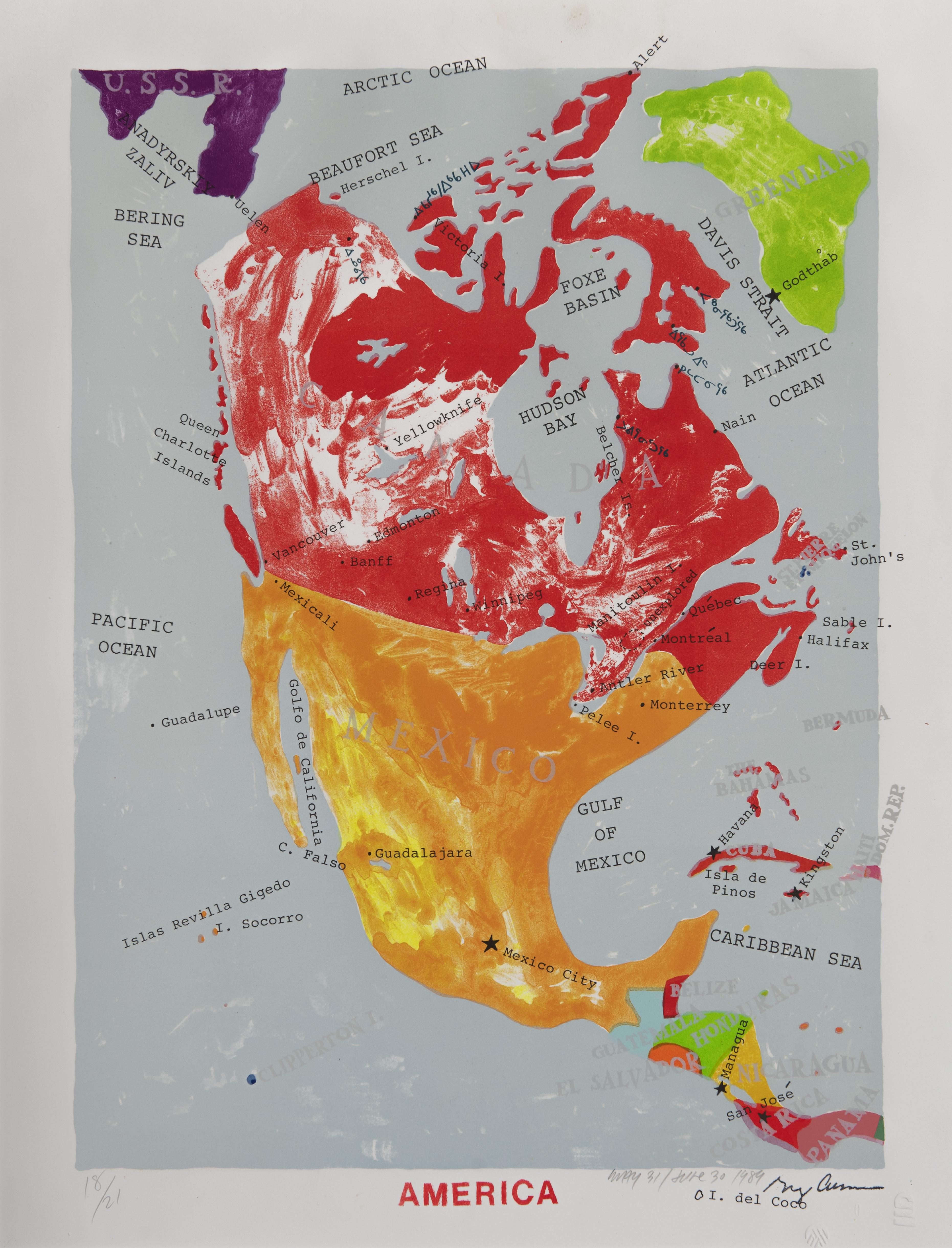Greg Curnoe, America, Lithograph, 1999