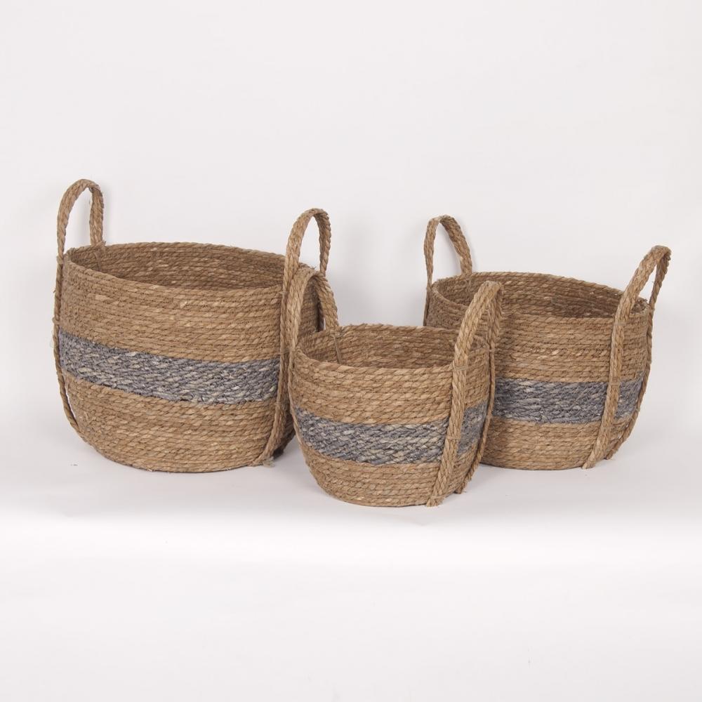 "Dark Grey Handle Straw Basket Small 10""d x 9""h - $19.99 Medium 12""dx11""h - $29.99 Large 14""d x 12""h  $39.99 COMING SOON"