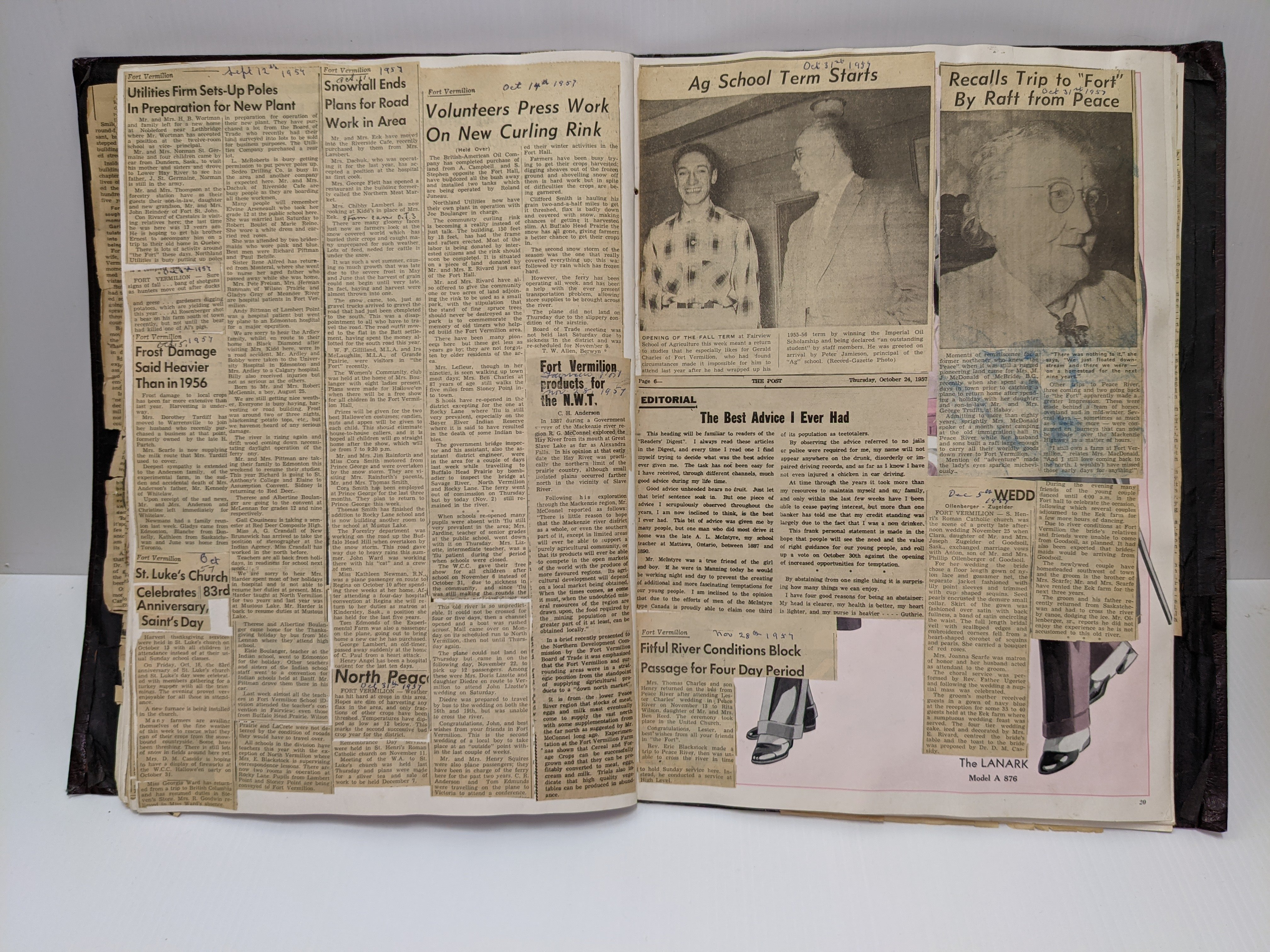 """Dorothea Newman pieced together clippings regarding Fort Vermilion from the Peace River Record Gazette to create this wonderful scrap book. The book contains news from 1952- 1957 documenting everything from major events (Rabies Epidemic in Upper Peace Country 1950's) to personal news (""""Henry Angel has been a hospital patient for the past 10 days""""). The news clippings are pasted on the pages of a fashion book which is noted via shoes stepping out of the bottom right corner. Some pages have so many clippings they are layered overtop each other -requiring the reader to flip them up to read all the stories. If you are one for anecdotal history - or have strong ties to Fort Vermilion - this sure is an entertaining read!  17/05/2021 2021.18.02 / Newman Dorothea"""