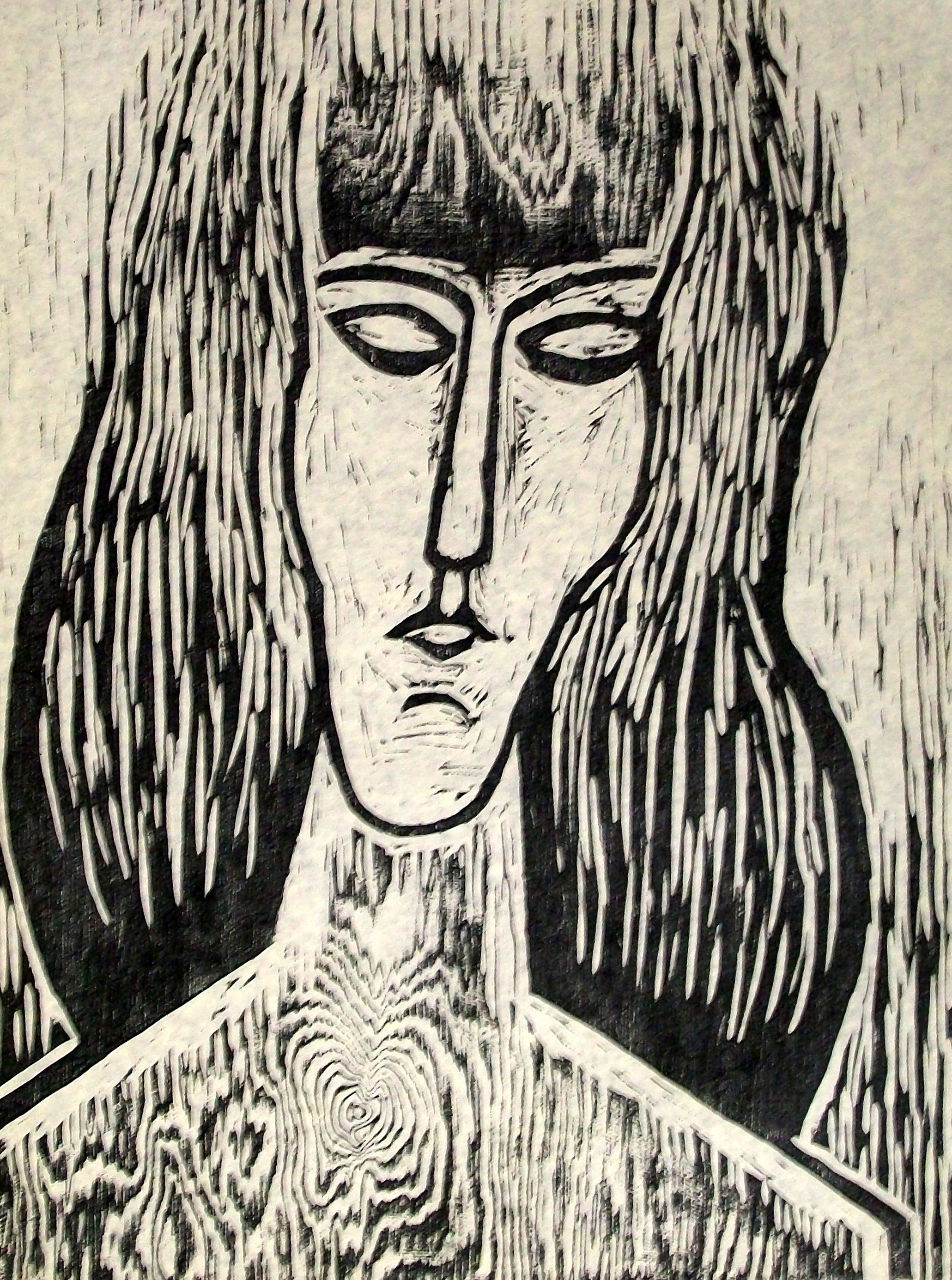Stanley Lewis Contemplation, 1965 wood block print