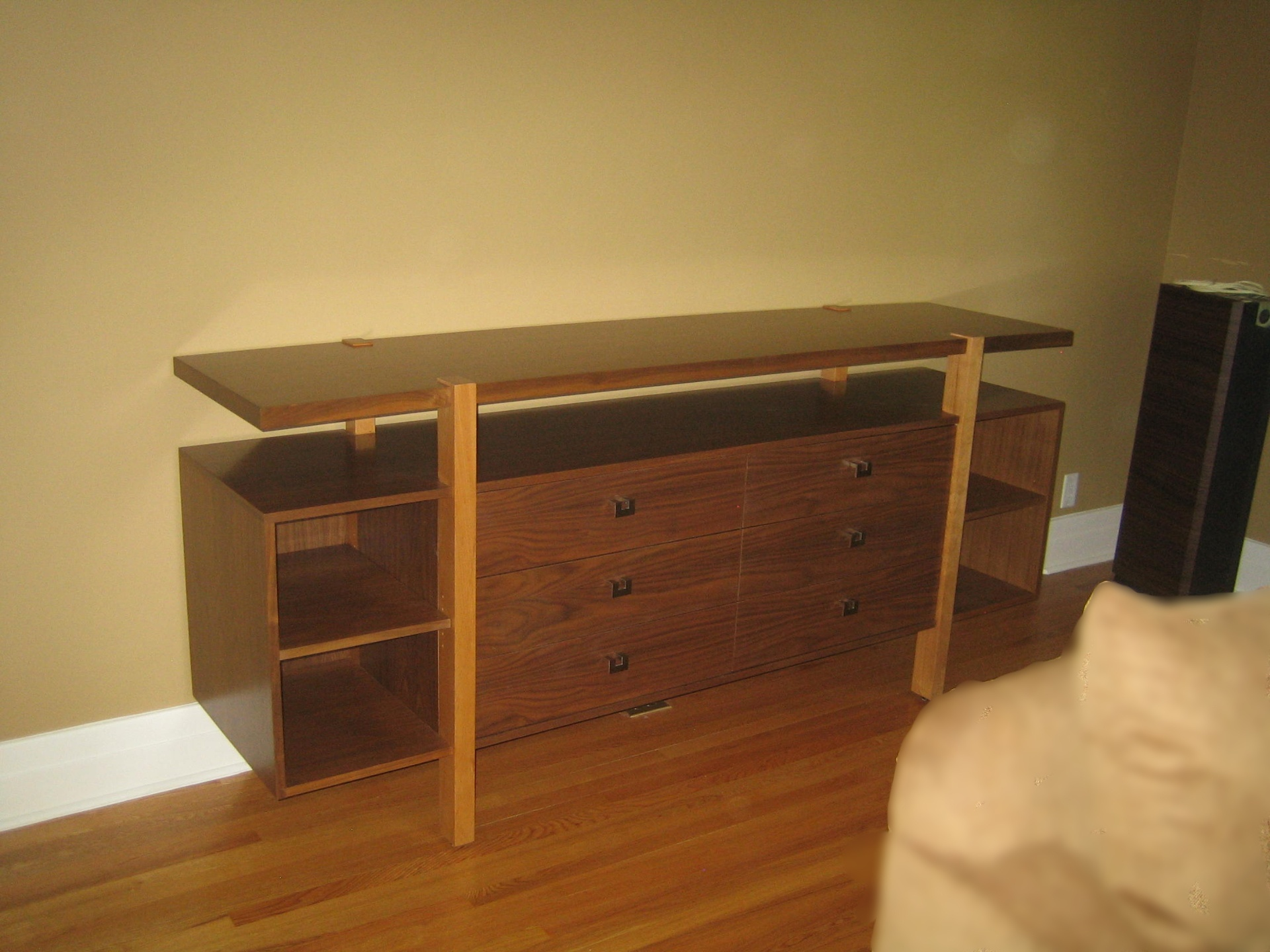 Walnut Console with Maple Posts