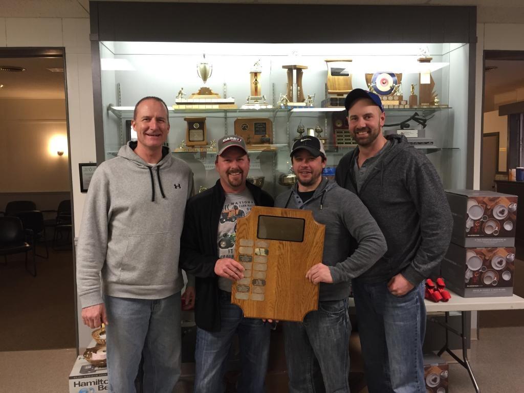Grand Champions, 2016 Tillsonburg Curling Club Crompton Home Hardware Men's Bonspiel. (L-R) Al Eagleson (Lead), Paul Vink (Second), Donnie Stewart (Vice), Travis Hofstetter (Skip).