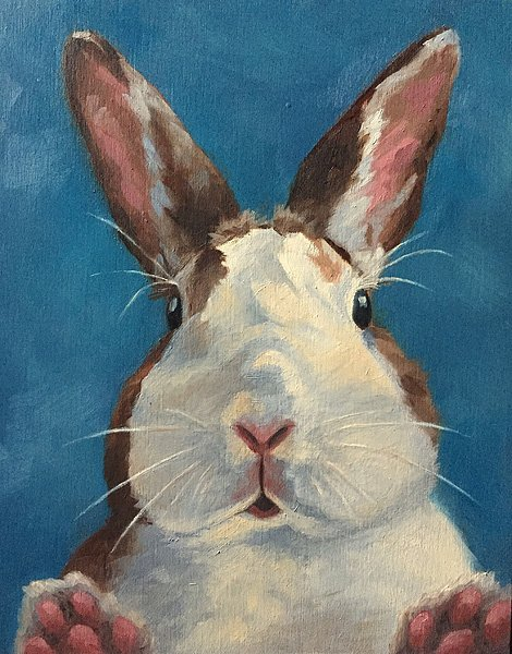 "It Wasn't Me! 8"" x 10"" / commission oil on birch panel"