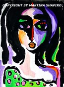 Fauve Woman in Green Dress painting Picasso inspired by artist Martina Shapiro