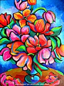 """<b>SOLD to BC, Canada.<br> """"Red Tulips on Blue""""<br> original oil on canvas painting</b><br>30x40inches"""