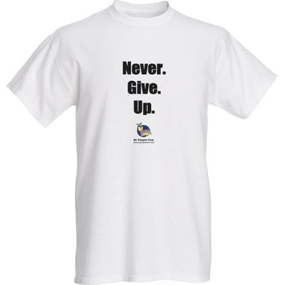 Never Give Up advocacy t-shirt with BCPF logo