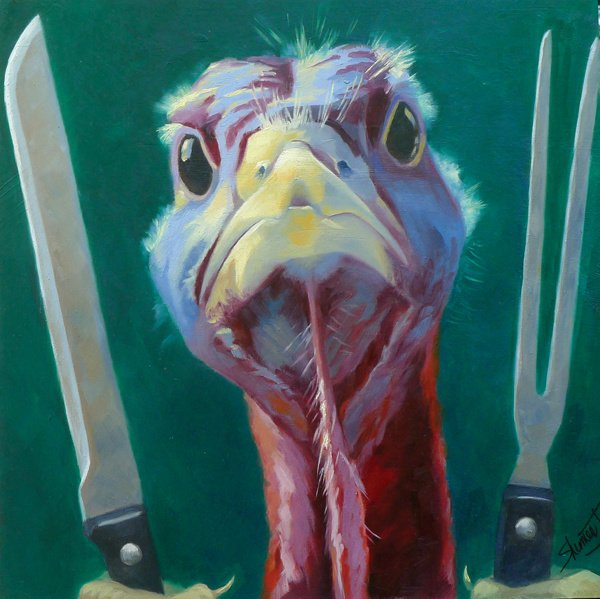 "No  . . . You get Stuffed! 12"" x 12"" / sold oil on birch panel"