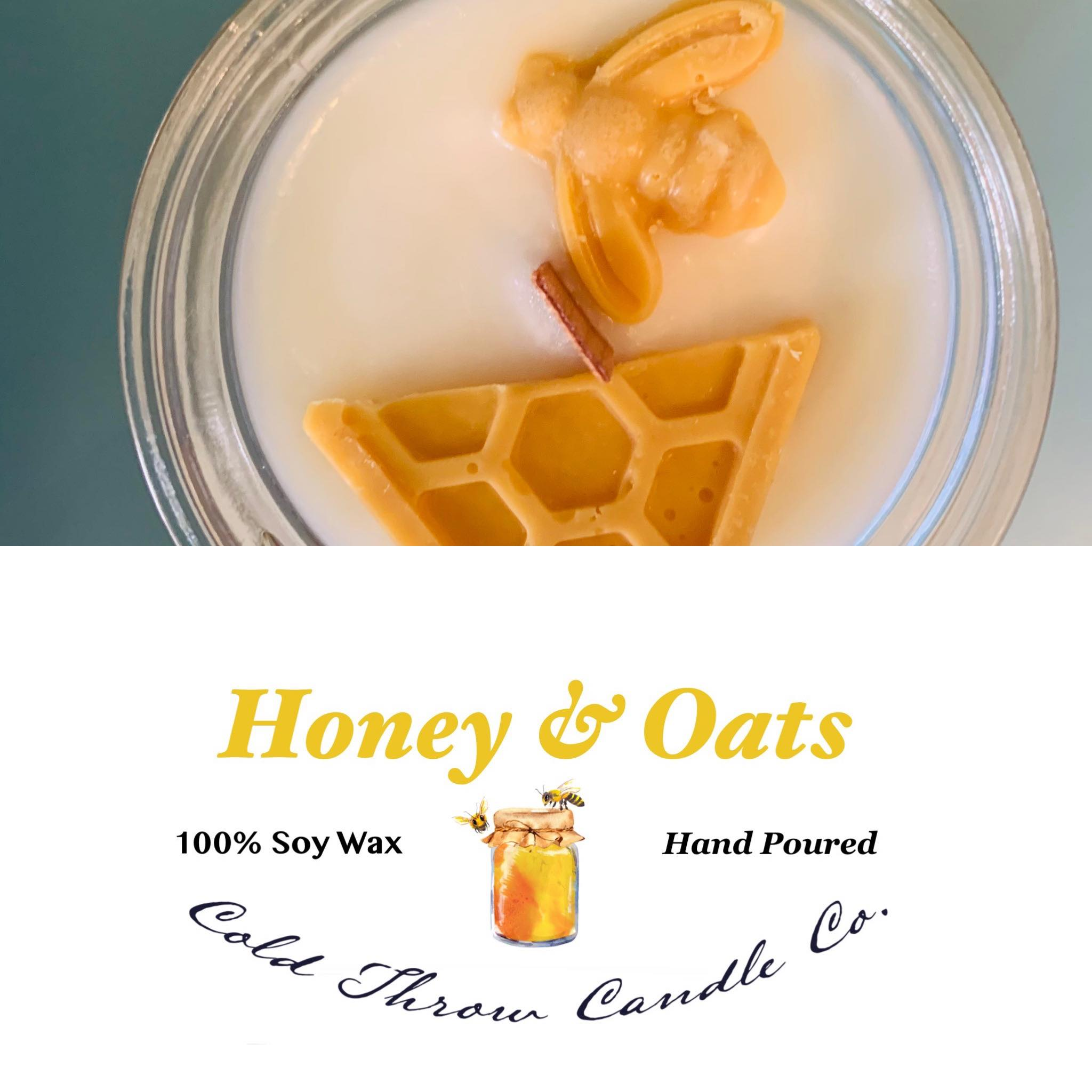 """An inviting blend of vanilla and honey aromas sprinkled with oat notes. This scent will soothe the senses and calm the mind. Best enjoyed beside a roaring fire while reading or next to you as you soak in a bath full of bubbles. It's a """"me time""""candle!"""