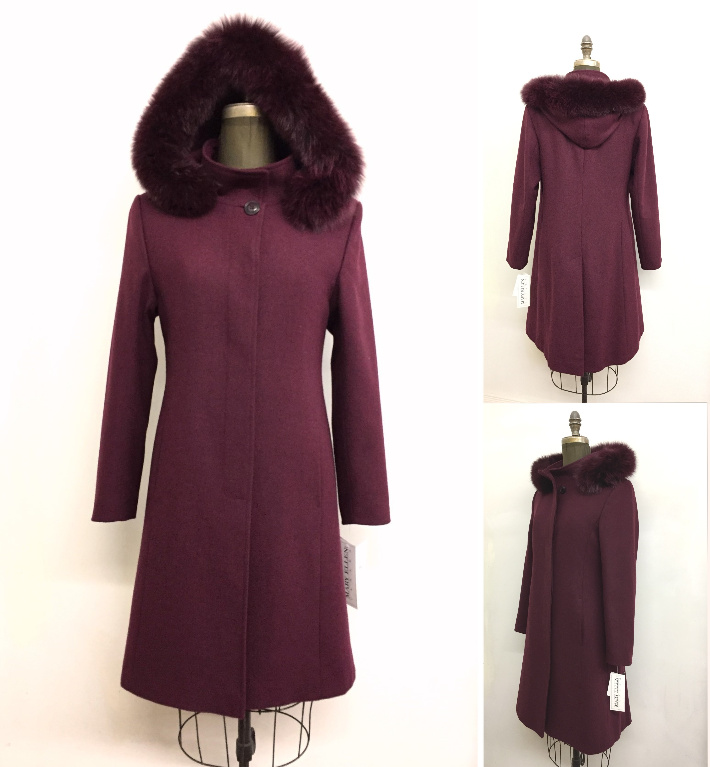 Style #4066-18   Sangria  100% Pure Merino Wool  Features:  Classic styling and optimum comfort.  Detachable genuine fox trimmed  hood. Coat has a stand  collar, ideal for keeping the chill out on cold windy days. Full chamois lining.  Includes extra buttons.  In-Stock Colours:  Kelly Green, Plum, Sangria,  Black,  Navy or can be made in  the colour of your choice.  Made From Fabrics Imported From Italy and Other  European Countries: Cashmere and  Cashmere/Wool Blends, Alpaca blends,  100% Pure Virgin Wool and other fine fabrics.  Can be made to order.  Sizes: S, M, L  Price:  $599 and up