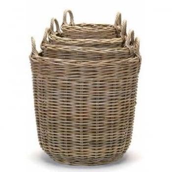 "Grey Rattan Round Basket Small 12""d x 14""h - $39.99 Medium 14""d x 15""h - $69.99 Large  18""d x 18""h - $89.99 Extra Large 21""d x 21""h -$99.99"