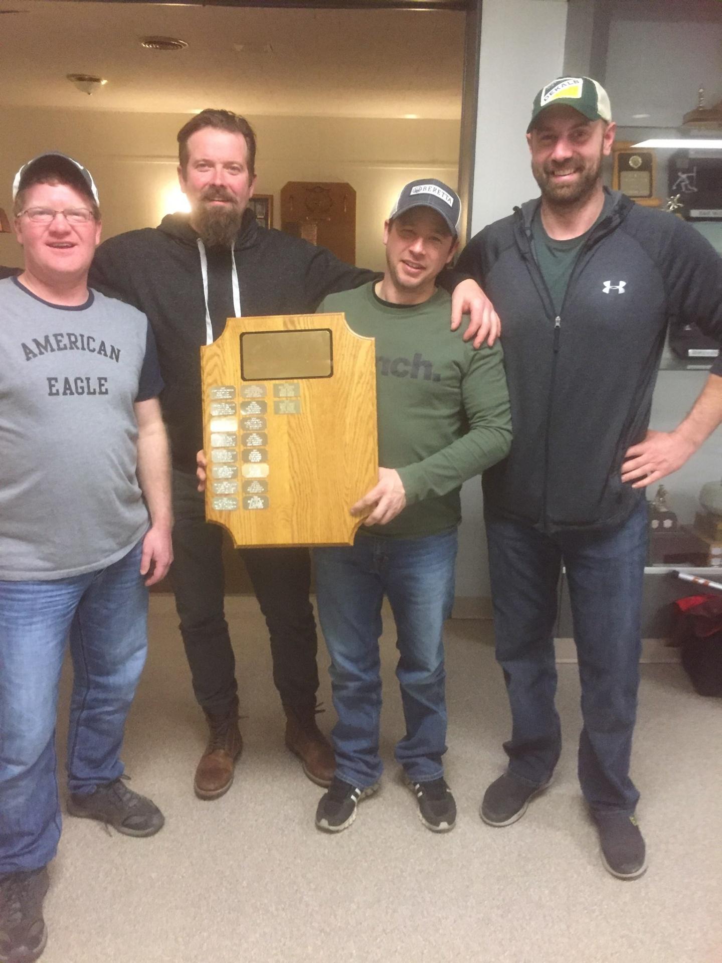2019 Tillsonburg Crompton's Home Hardware Bonspiel overall winners! Geoff Alexander, Adam Bell, Donnie Stewart, Travis Hofstetter.
