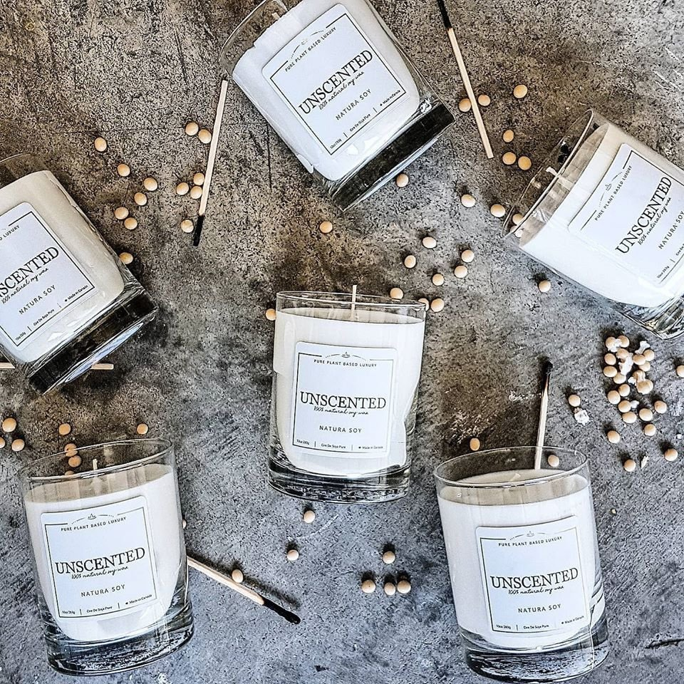 Unscented Sometimes you just need a little extra light and that is all.  Pure soy wax, cotton wicks and nothing else
