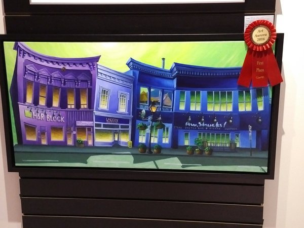 In 2016, I entered part of a triptych titled West Side Story in Art Aurora, a yearly juried show and sale. The painting, West Side Story - Act II, won a first prize ribbon in the Preserve Aurora category. It was then selected by the Mayor of Aurora, Geoffrey Dawe, and purchased by the Town of Aurora for their permanent collection. My work can also be found in collections in Canada, the United States, Great Britain, and South America.