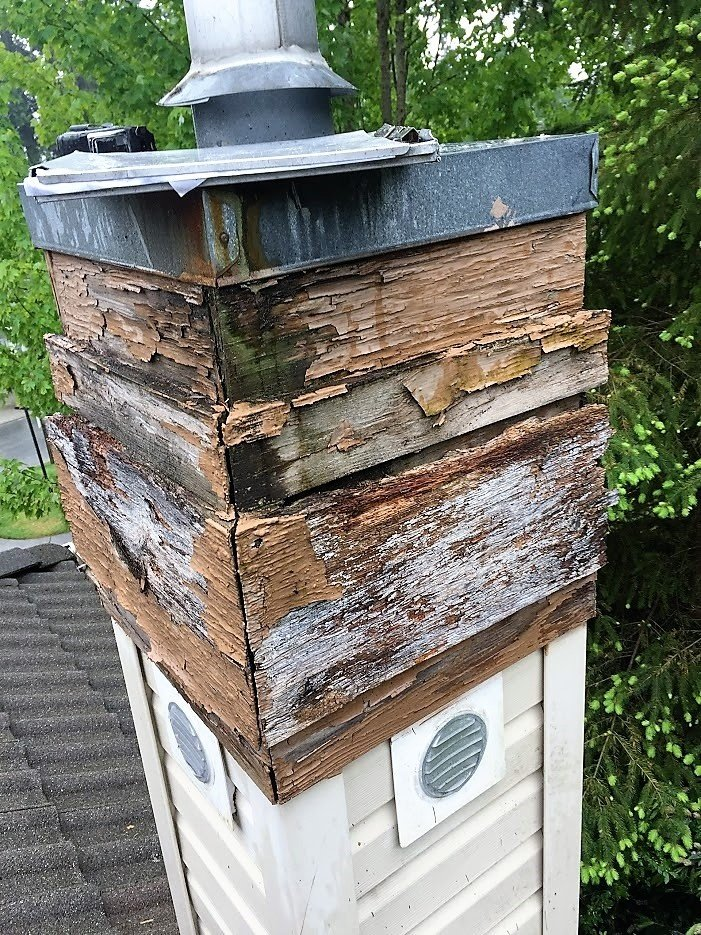 rotten wood on chimney