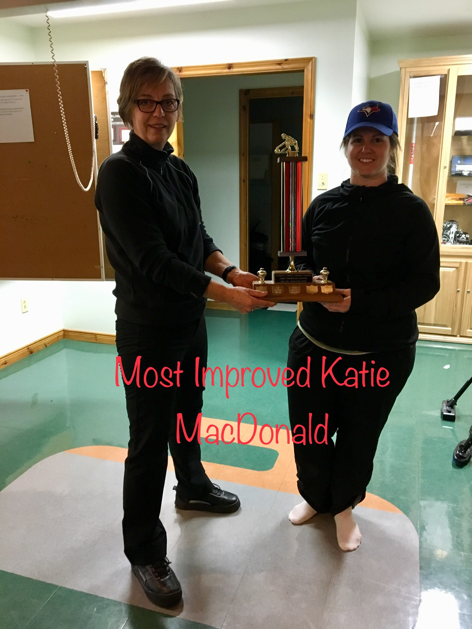 Tuesday Night Ladies Most Improved: Katie MacDonald (right) Presented by Annette Daemen (left)
