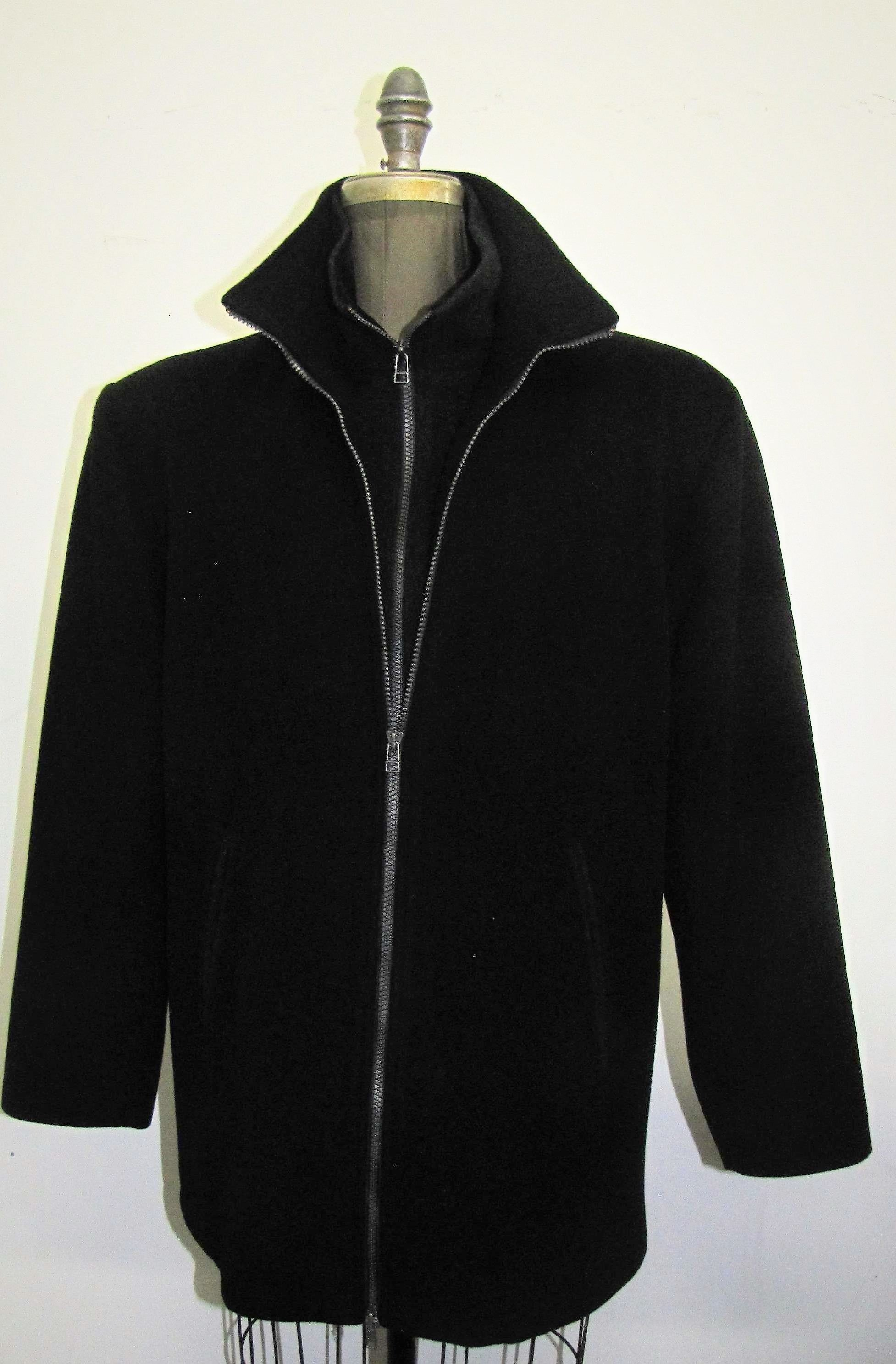 M0225-17 Black Cashmere & Wool (Velvet Trim)