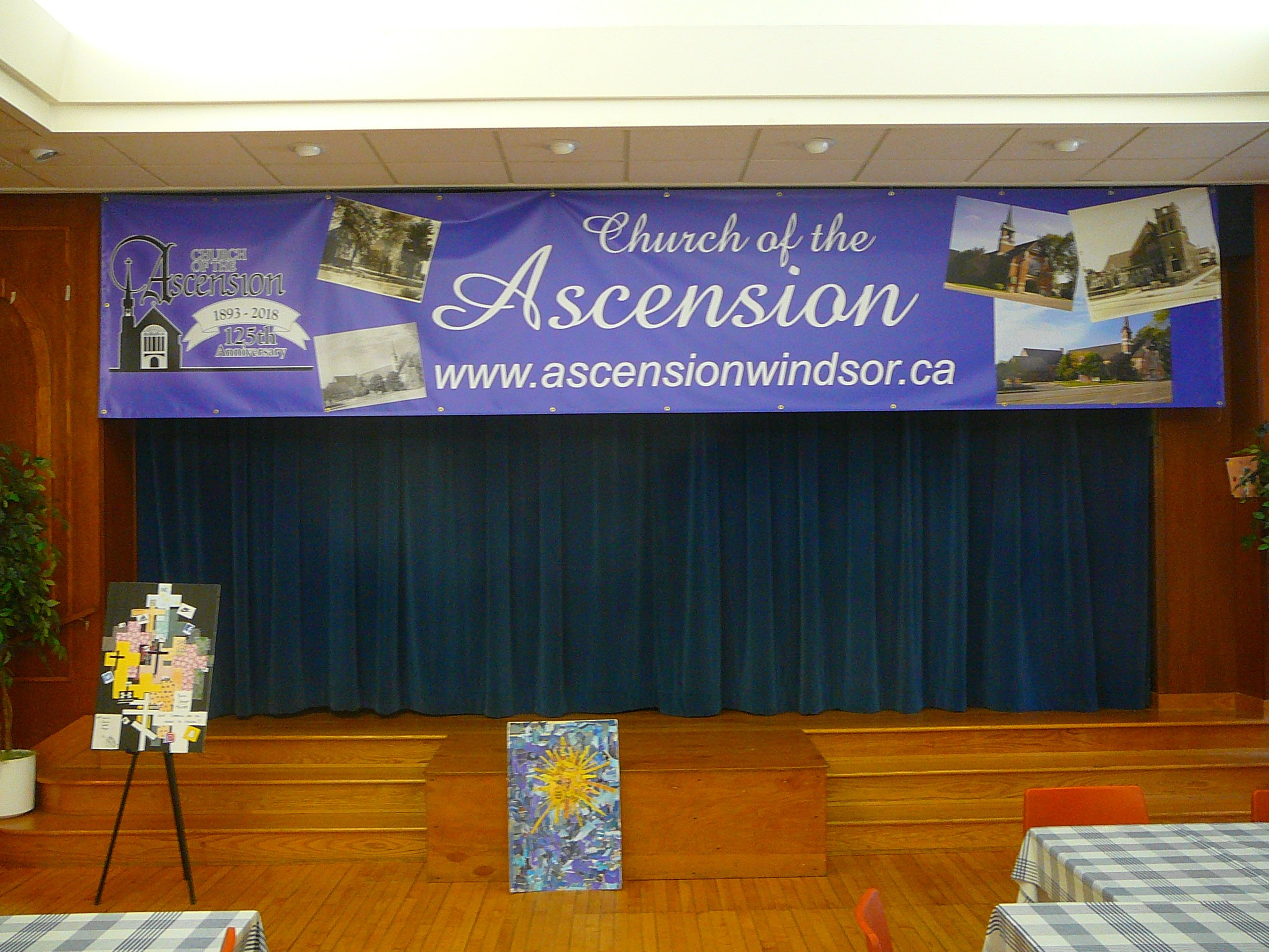 Banner for The Church of the Ascension's 125th anniversary, May 2018