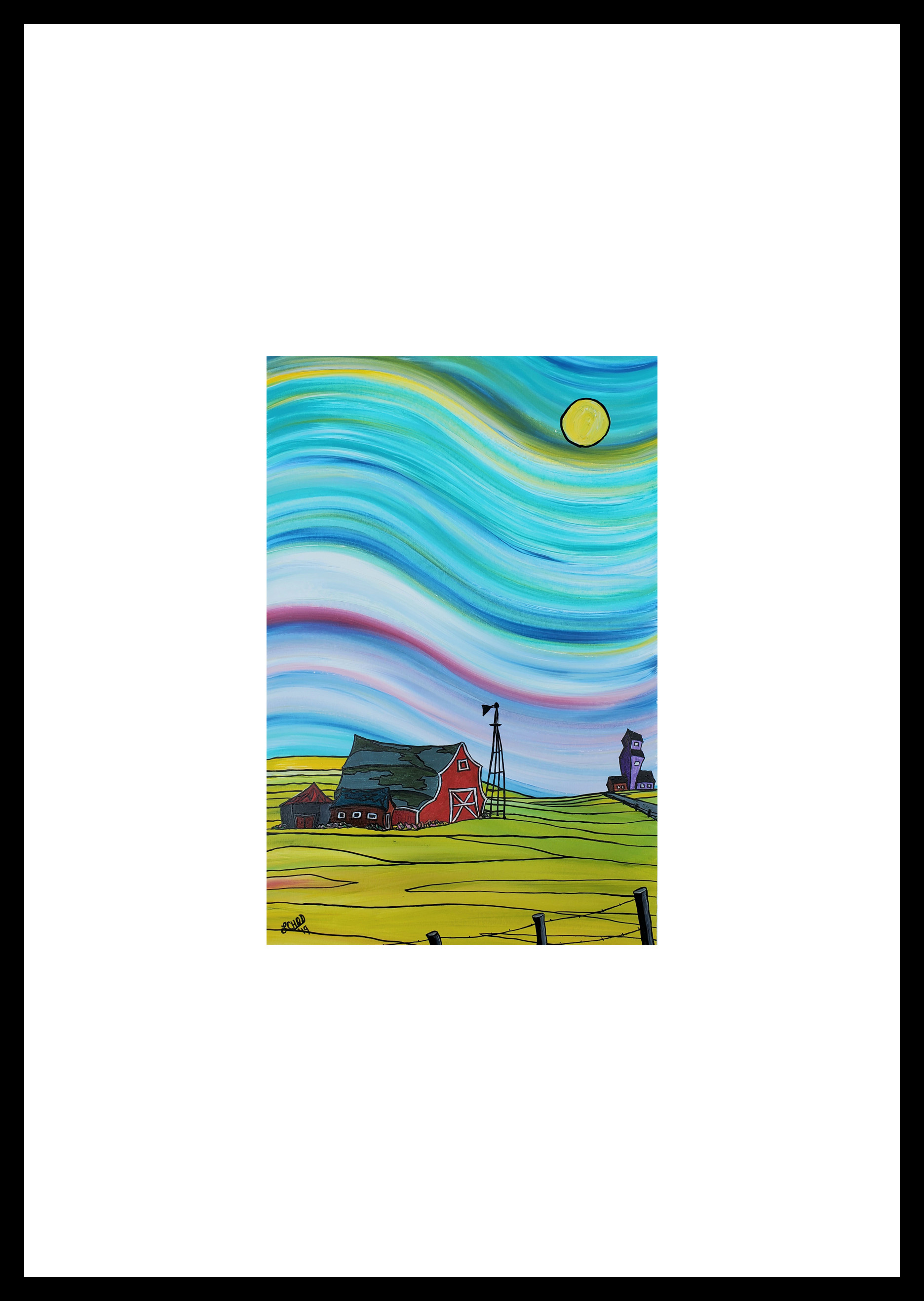 "2019-11 ""Prairie South II"" Image: 11"" x 16.75"" Framed: 18"" x 24"" Acrylic on 246 lb paper $350.00"