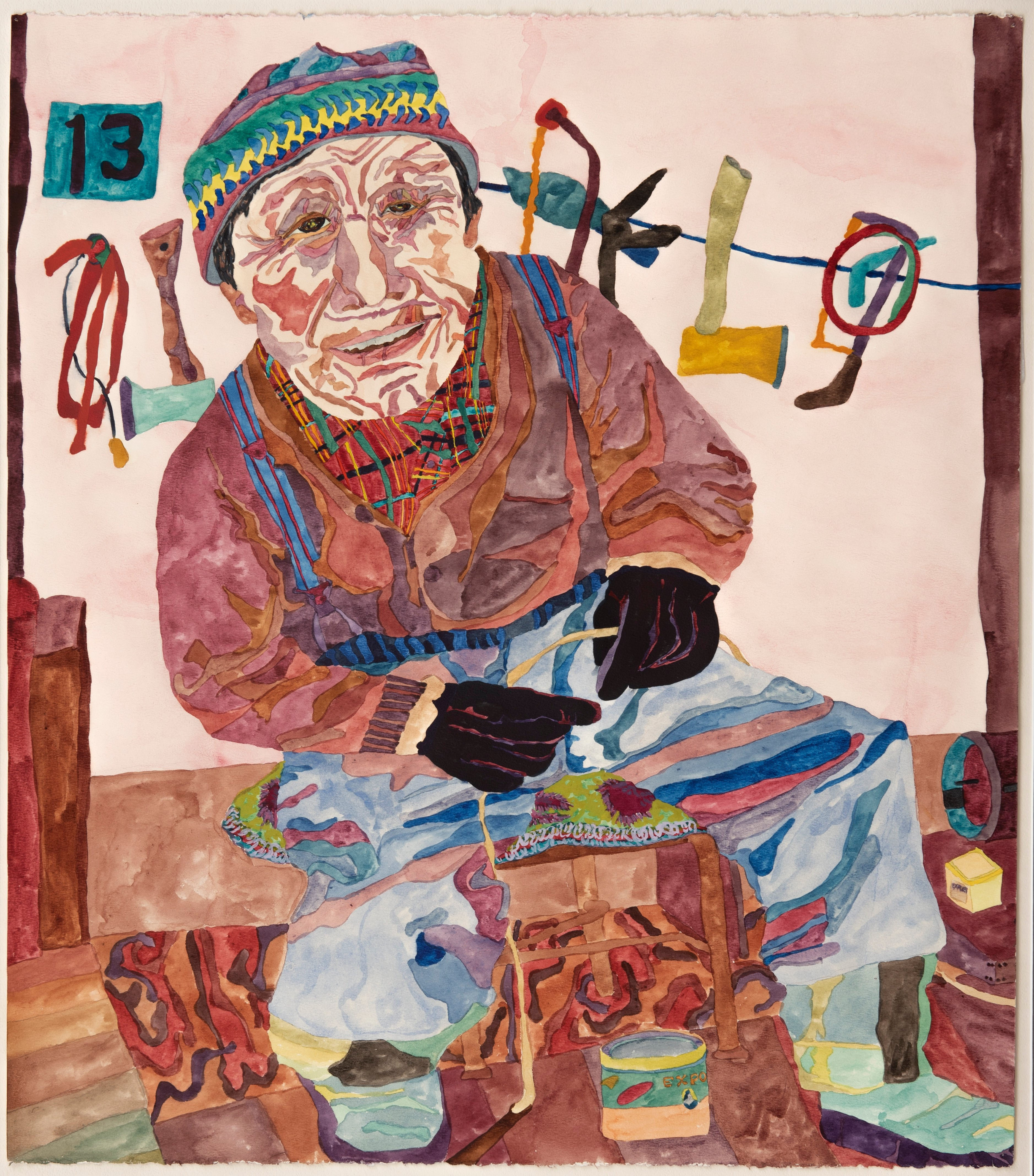 Kerry Ferris, Old Man and Dog Whip Guise Fiord, watercolour on paper, 1982