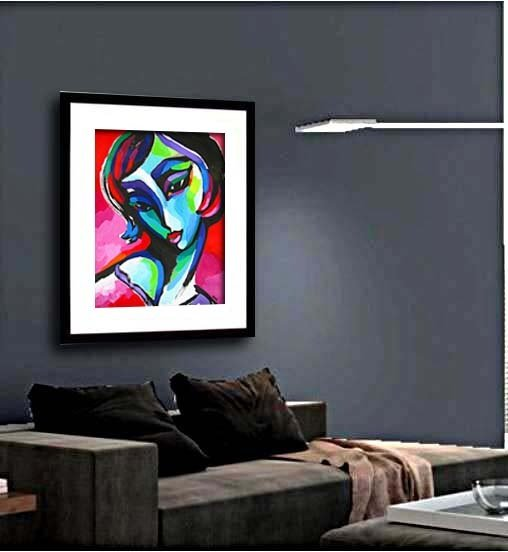 Abstract Female on Red original contemporary painting of woman by artist Martina Shapiro