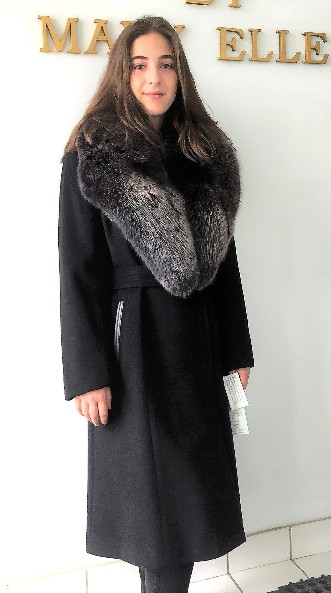 Style#4 403 Black with Snowtop Fox Collar Cashmere/Wool