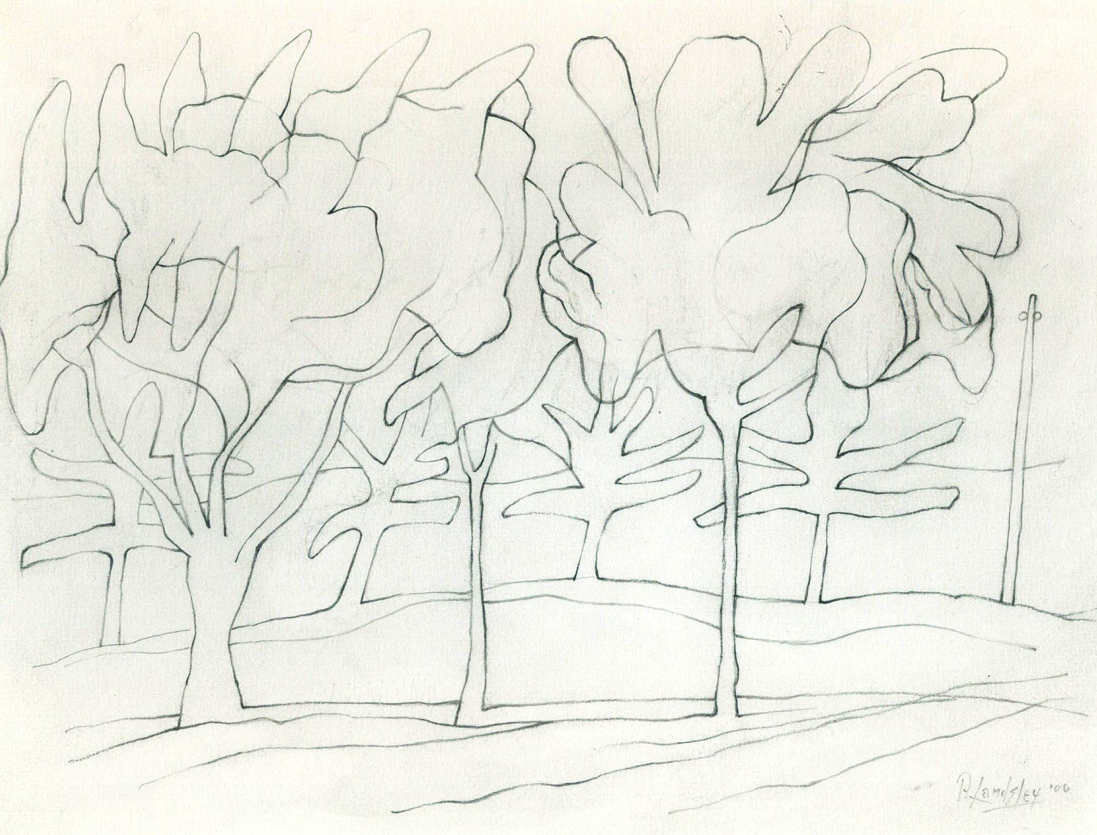 White landscape, graphite on paper