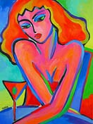 martini pop art girl painting