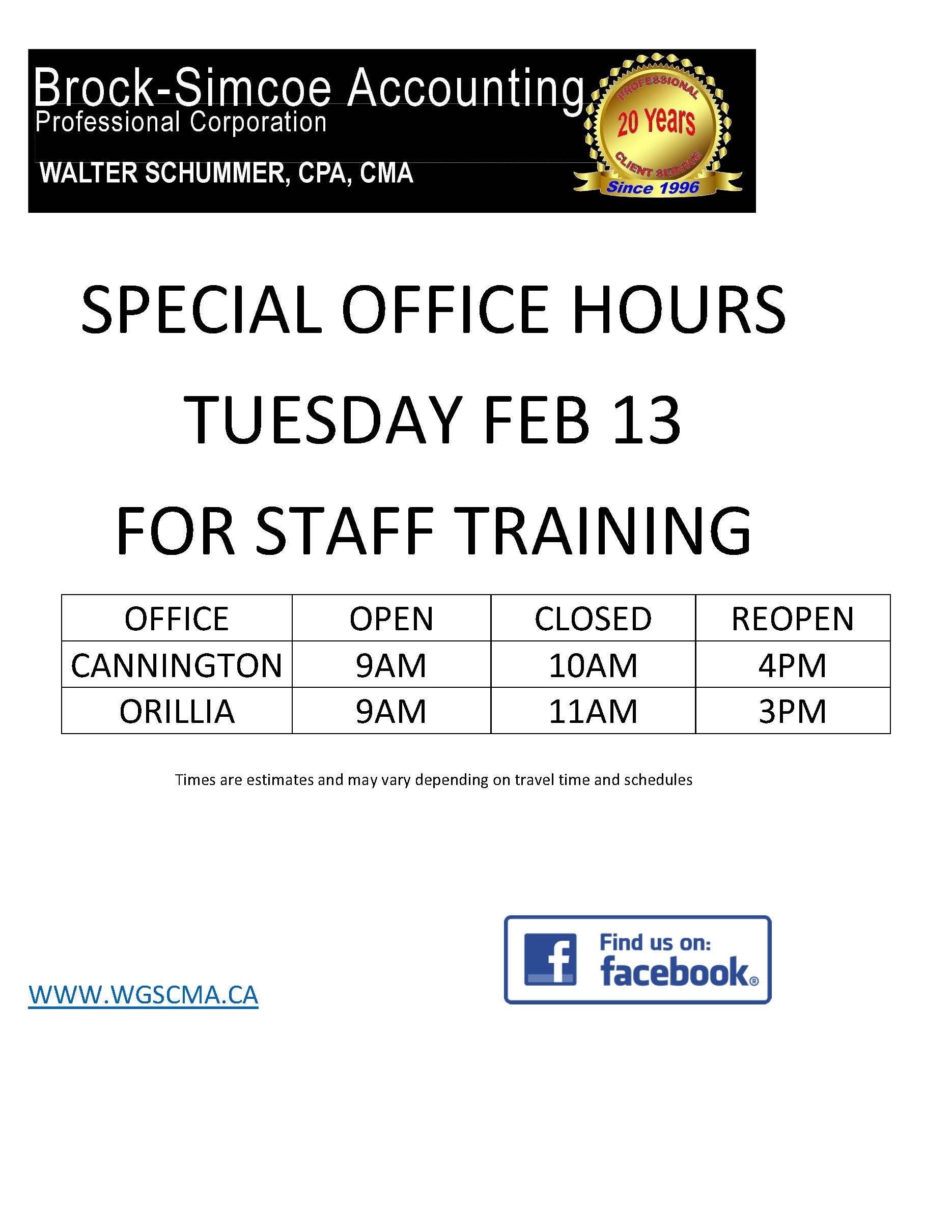 SPECIAL HOURS ON FEB 13