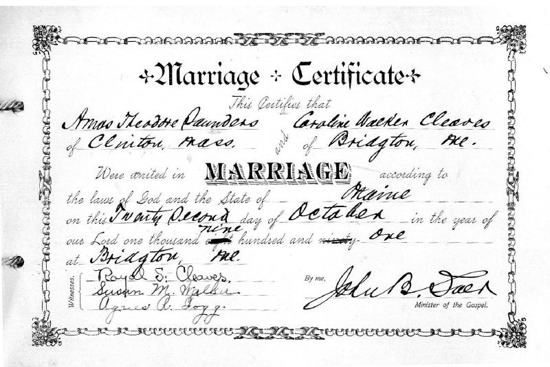 Marriage Certificate of Amos and Caroline