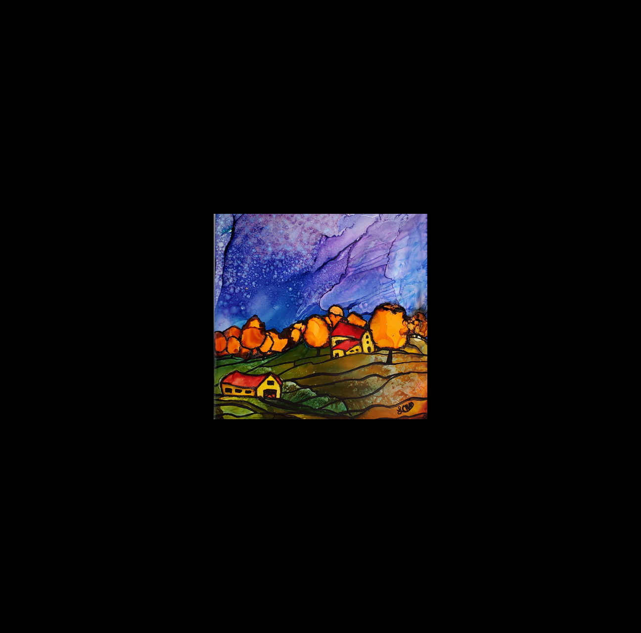 "2019-18 ""Autumn on the Farm"" Image: 6"" x 6"" Framed: 12"" x12"""" Alcohol Inks on Tile $135.00"