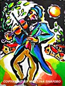 "SOLD to TX, USA ""Fiddler at Night"", original painting in acrylic and ink on paper  15 x 20 inches"