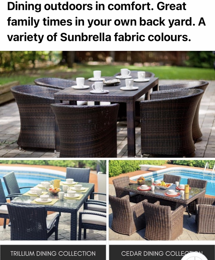Outdoor dining sets Sold as separates. Call for pricing