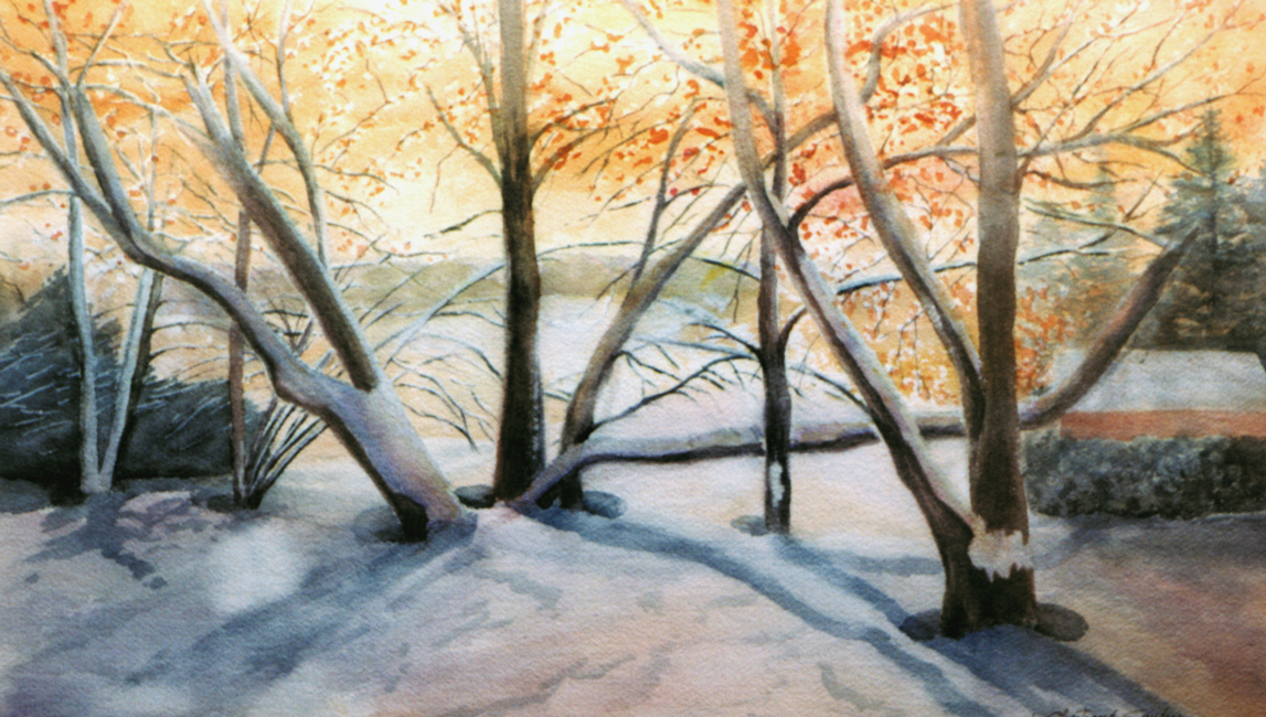 """Sous la neige Aquarelle 12"""" x 20"""""""