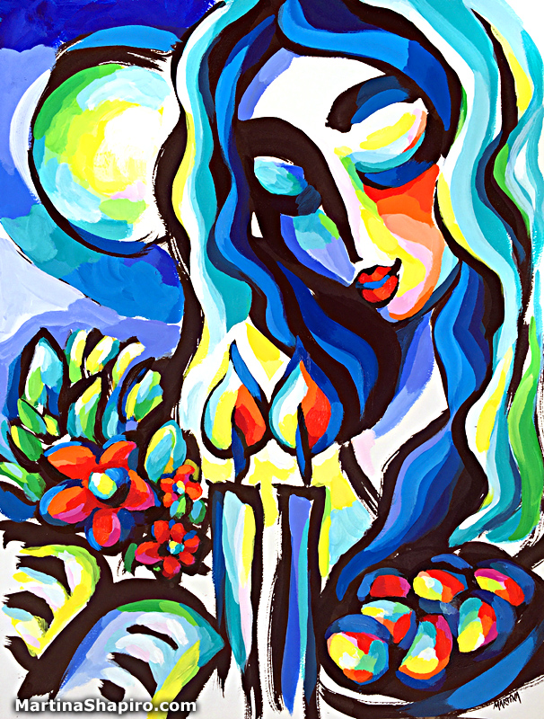 Joy of Shabbat original painting on paper by artist Martina Shapiro