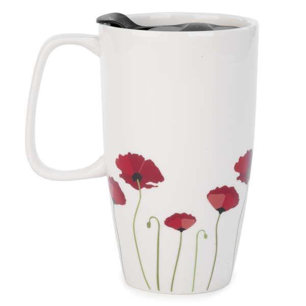 """Ceramic Poppy Travel Mug 4"""" x 6"""" $12.99"""
