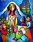 Lights of Shabbat Jewish fine art original painting by artist Martina Shapiro