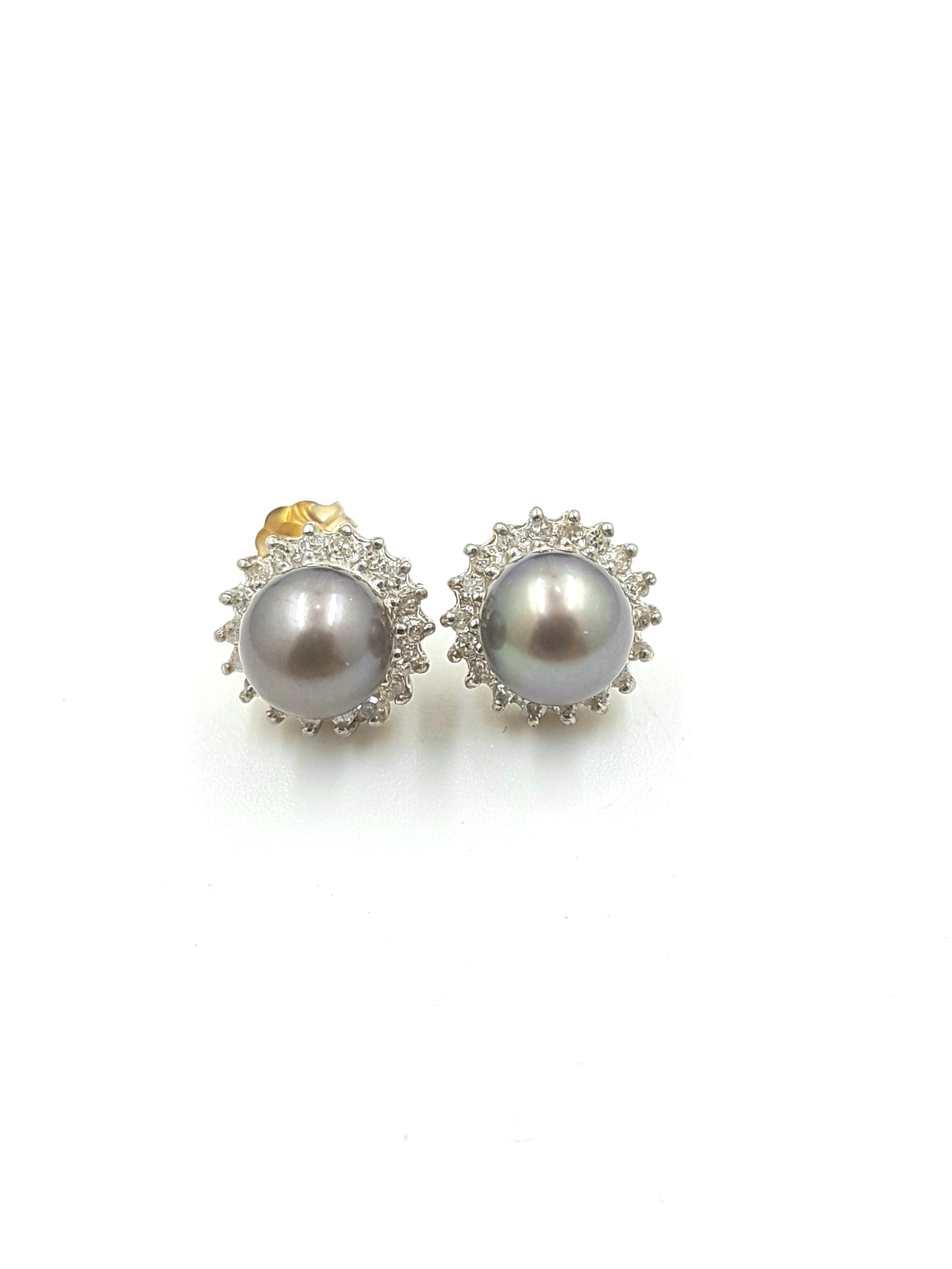 14K White Gold 0.20ct Diamonds with Pearls Regular Price $1495 SALE $550 Ref: FN-E15158