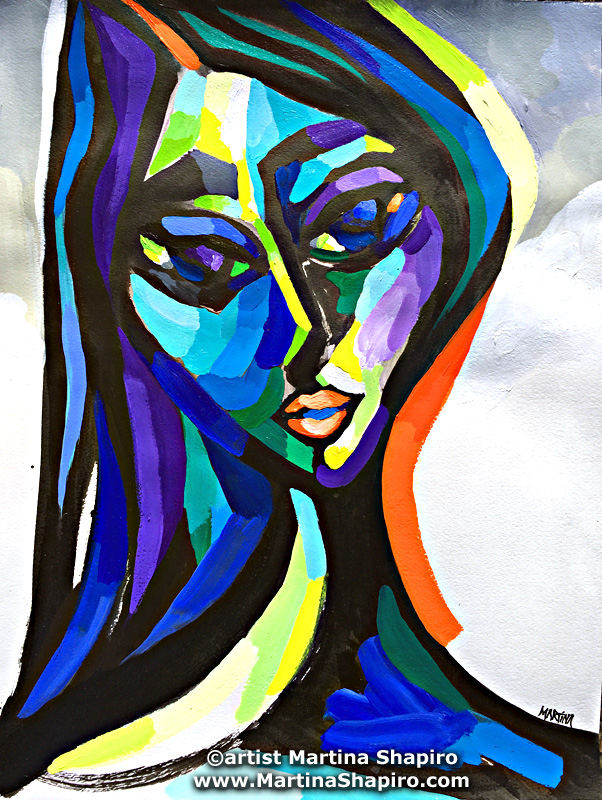 """Woman In Purple"" original painting by artist Martina Shapiro"