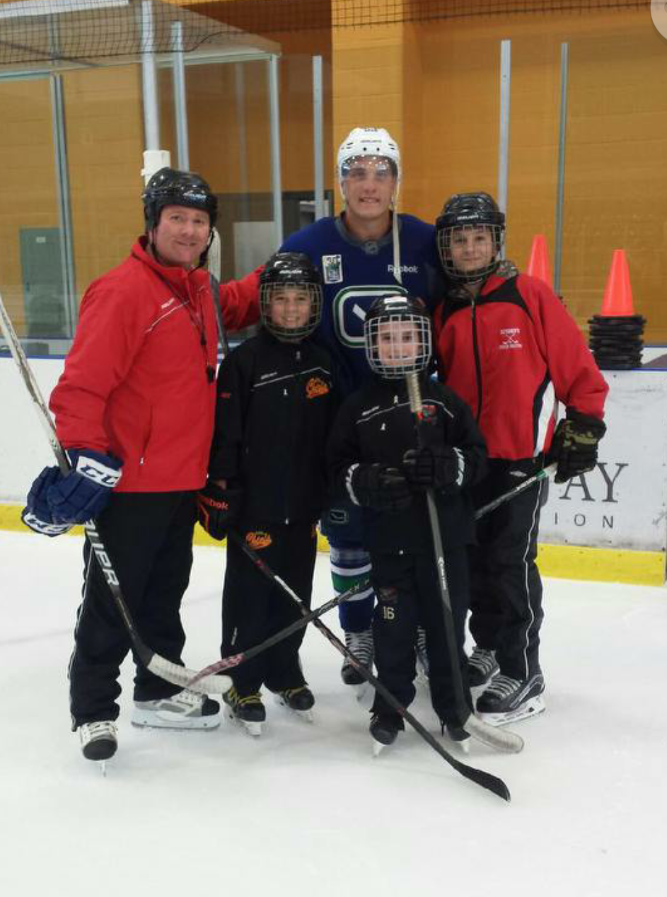 Bill and his sons; Tim, Owen and Jake welcomed NHL star Bo Horvat after a skating session in Komoka.