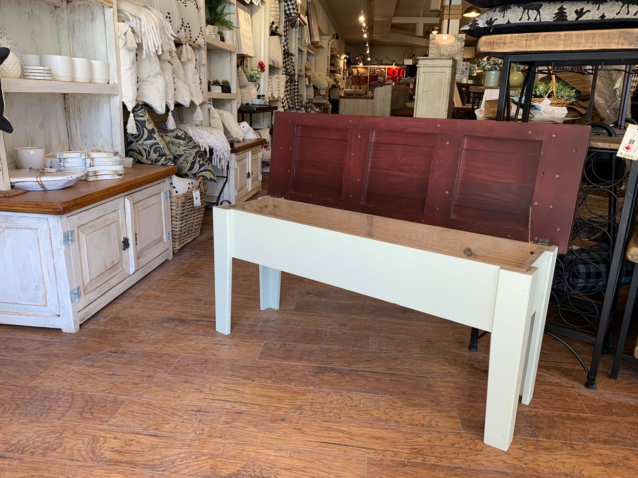 Antique White with Cherry Top