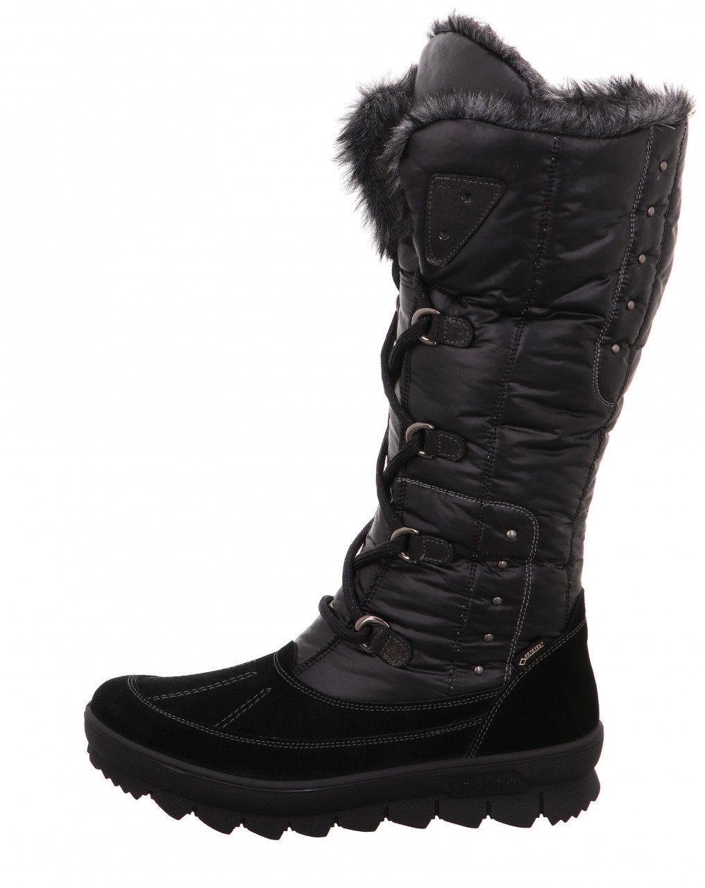 "NOVARA 931-00 BLACK WOMEN'S NOVARA is the classic among the boots of legero: its extra-high shaft and loving, rustic details such as the metal eyelets characterize this model. The non-slip, yet very light and flexible sole with a striking sawtooth profile offers optimal stability on winter surfaces. The cozy warm lining in fur look with the proven GORE-TEX function is completely waterproof and with its breathability ensures optimum climate comfort in the shoe. Thanks to the side zip, it is possible to put on and take off quickly. With the help of the lacing, the shaft can be adjusted individually to the leg. The model, which is equipped with a removable insole, is offered in the comfort range ""G"". SKU 17268 REG 295. ALWAYS 269.00"