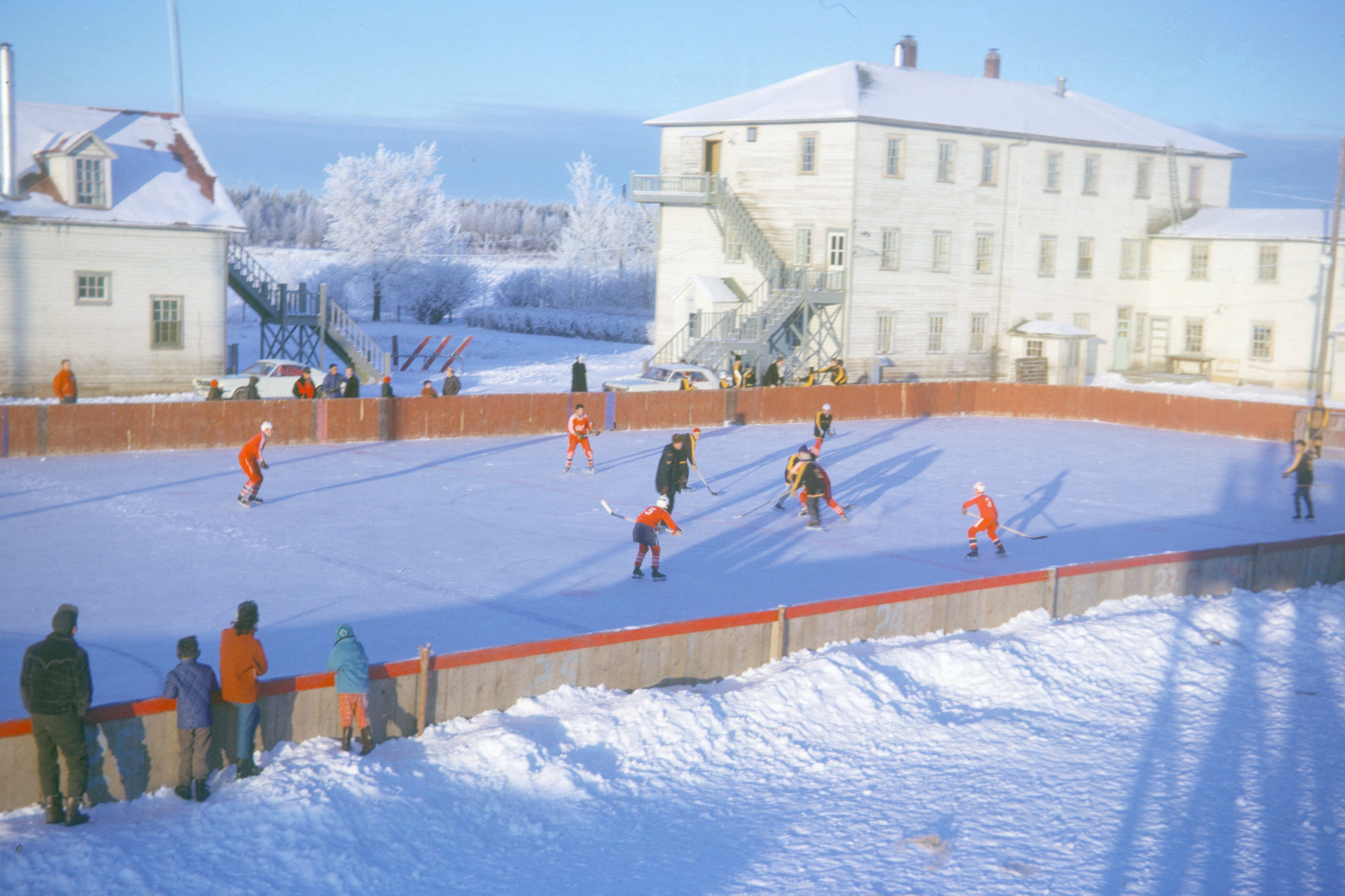 Hockey Game between Fort Vermilion's Public and residential Schools. 1966. Photo Credit: Anthony  O'Carroll.