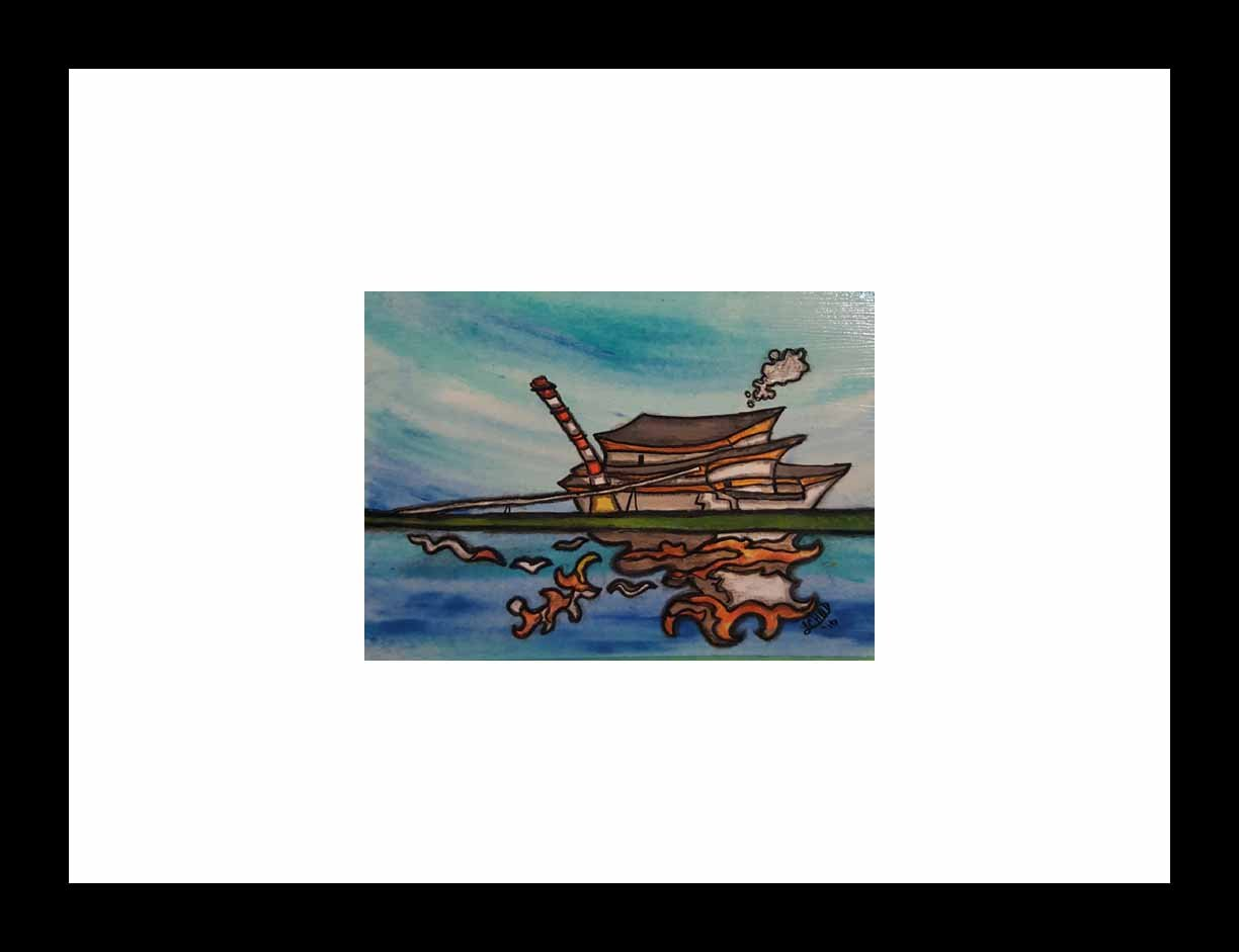 """Poplar River"" [2016] Image 7"" x 5"". Framed 13"" x 11"" Mixed media Commissioned Piece - SOLD"