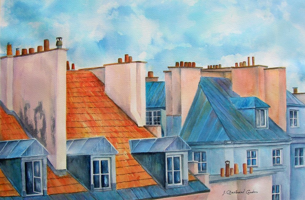 "Toits de Paris Aquarelle 14"" x 21"""