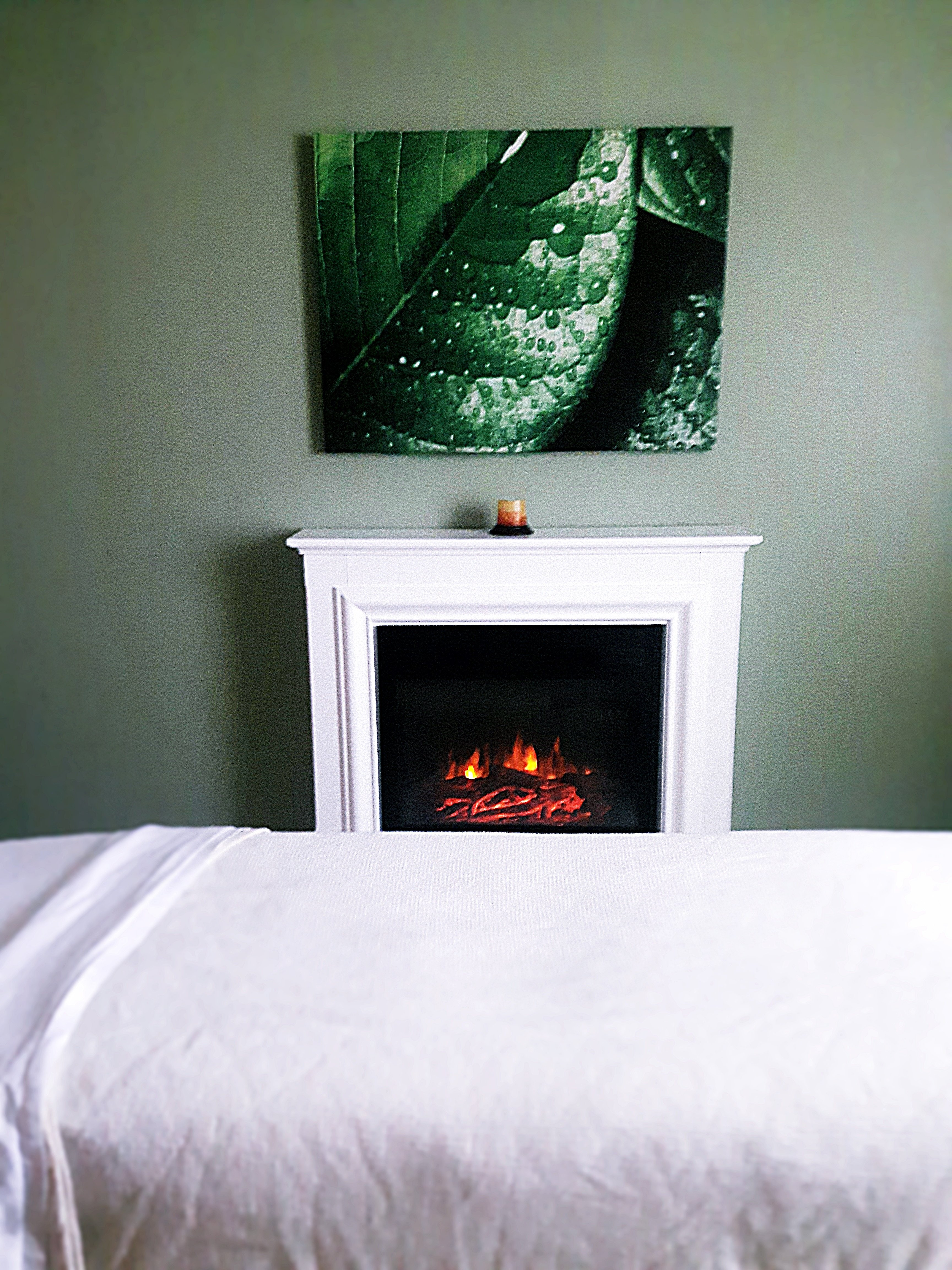 A beautiful fireplace for your enjoyment and to warm you up on colder days
