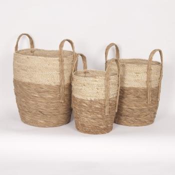 "Beige & Natural Straw Basket Small 10""d x 12""h - $24.99 Medium 12""d x 14""h -$29.99 Large 14""d x 16""h - $39.99"