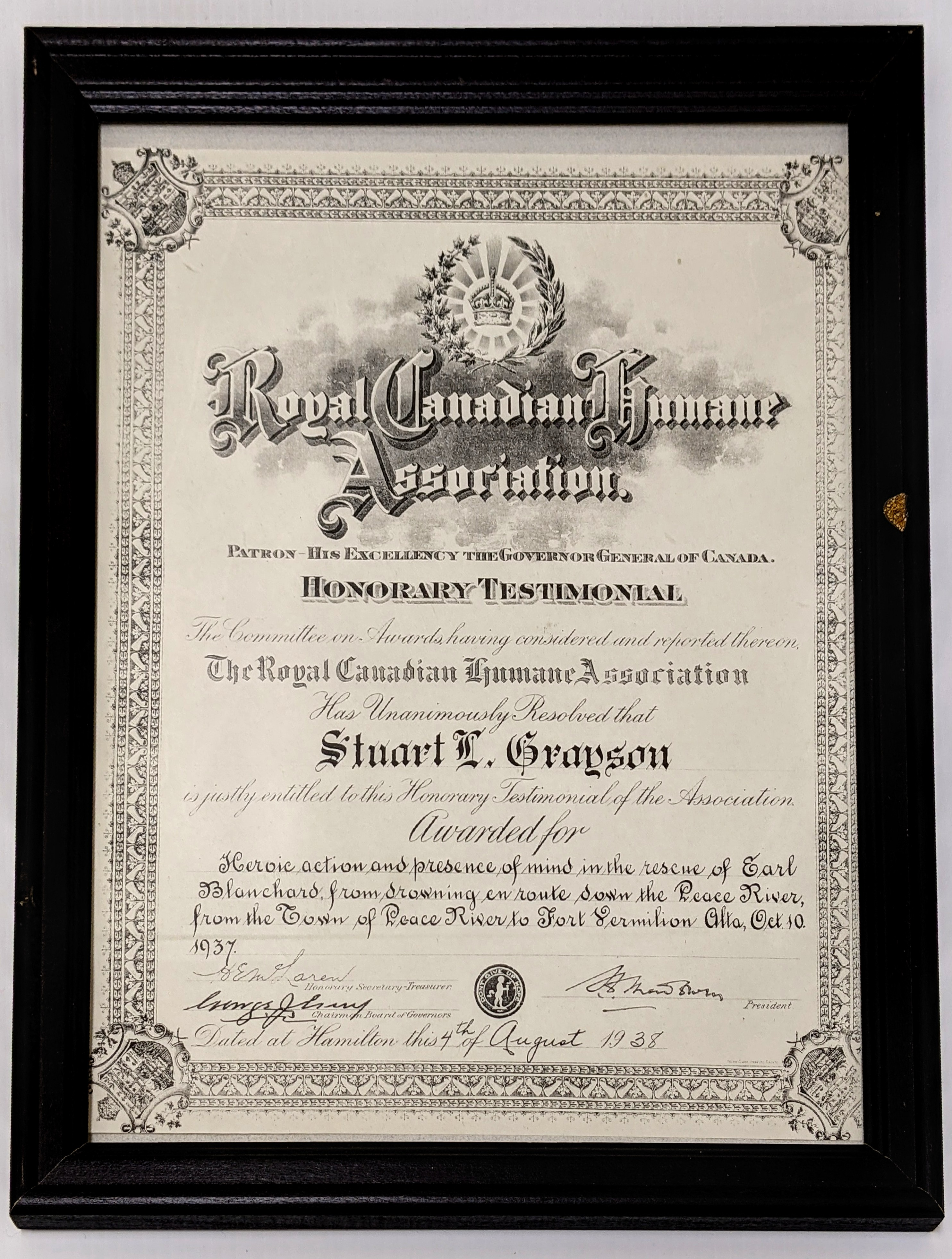 This award comes from the Royal Canadian Humane Association and is granted to Stuart Grayson. We are unsure of the entire story but Grayson was heroic in his efforts to save Earl Blanchard while travelling along the mighty Peace River.  Considering this was awarded in 1937 it is likely that the story does not involve a riverboat but is possible that there was an incident while crossing the ice. The Royal Canadian Humane Association still exists today ( its headquarters are in Edmonton!) and you can nominate individuals who have shown heroic action!  23/08/2021 2000.45.01 / Grayson, Stuart