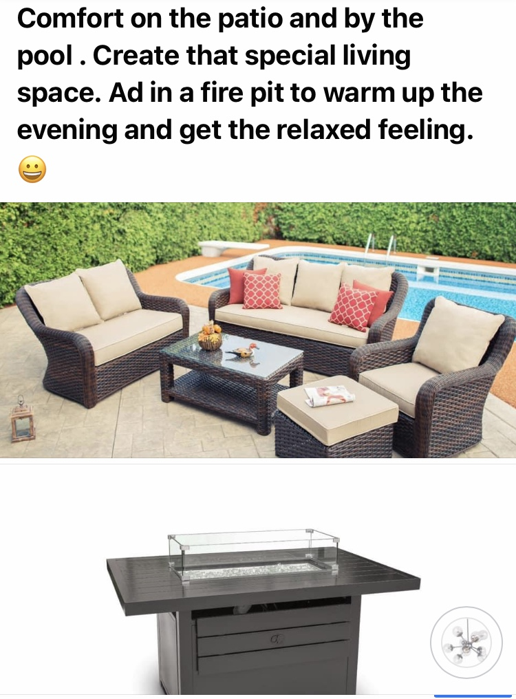 Back yard seating and fire pit Pieces sold separately.  Call for pricing
