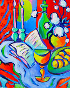 Shabbat Still Life Jewish abstract contemporary painting by artist Martina Shapiro