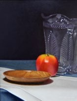 """Wooder Dish, Apple, and Glass Pitcher"" 11"" x 14"" Alkyd on hardboard $1750"
